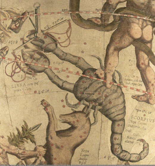 Scorpio and Libra drawn on a Mercator globe in the 1500's.