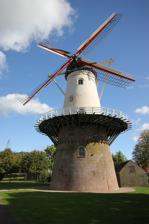 One of two windmills in the town of Wemeldinge which still grinds grain for locals