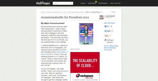Jeannieinabottle for President 2012