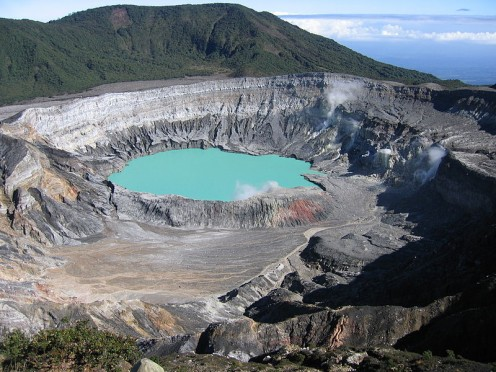 This photograph of the crater of Poás volcano in Costa Rica was taken by Peter Andersen on December 6, 2004.