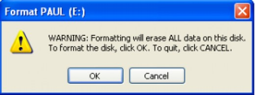 You get a warning message and click OK to continue with the format