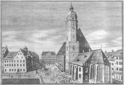 The Thomaskirche (St. Thomas Church) is a Lutheran church in Leipzig, Germany. It is most famous as the place where Johann Sebastian Bach worked as a cantor, and where his remains currently lie.