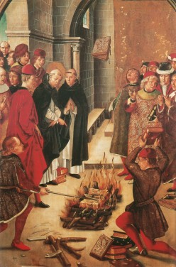 "Early priests burning ""heretical"" books (about other religions)"