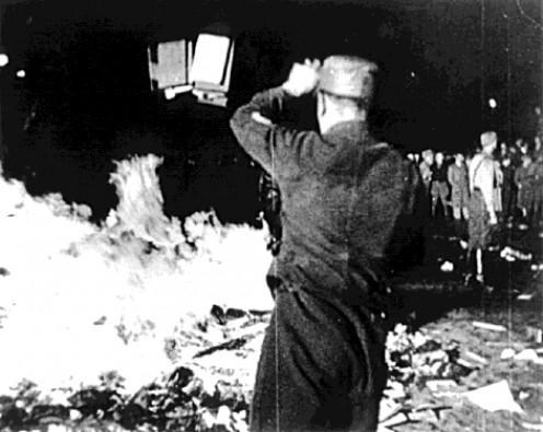 "Nazi book burning - destroying ""un-German"" literature"
