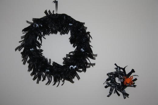 Halloween Ribbon Wreaths I made with the idea from Thrifty Crafty's Blog