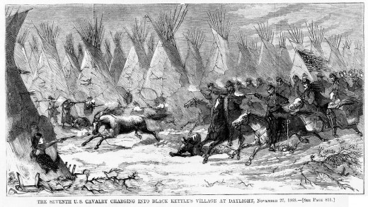Seventh Cavalry Charging Black Kettle's Village 1868