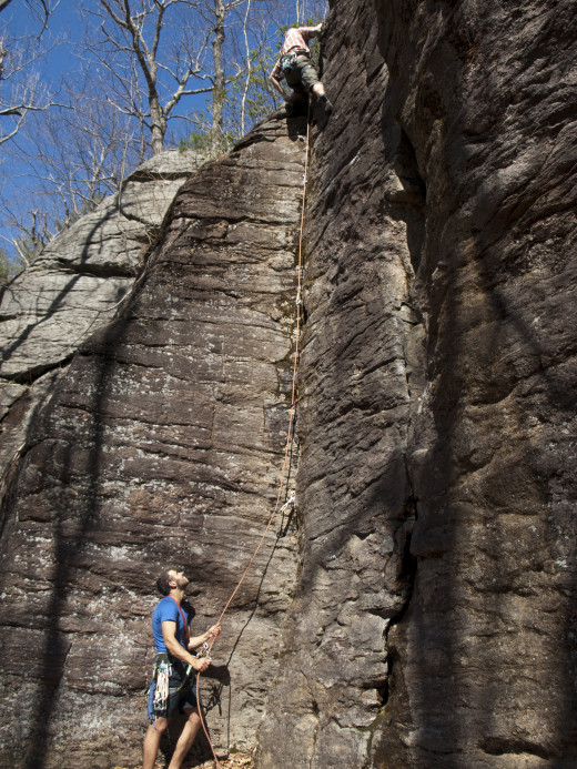 Leading Layback, 5.6, at the End Crags. Crow Hill, Leomister.