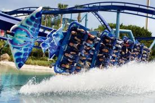 The Manta Coaster touches The Water. I mean it literally skids the tip of the water and splashes it up on you.