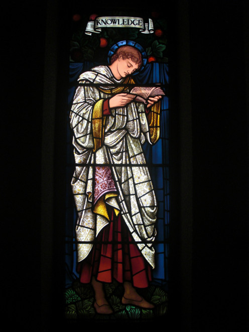 "Representation of ""Knowledge"" in a stained-glass window designed by Edward Burne-Jones. In Rochdale (Clover Street) Unitarian Church. Manufactured by Morris &Co, Morton Abbey, Manchester, England."