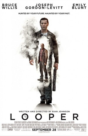 Movie poster for Looper, featuring Joseph Gordon-Levitt and Bruce Willis as Joe.