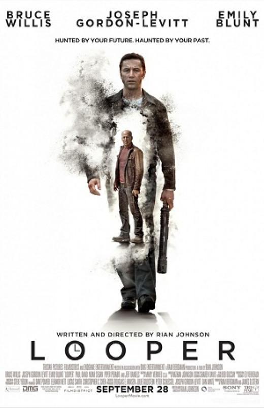Movie poster for Looper, featuring Joseph Gordon-Levitt and Bruce Willis as Joe.