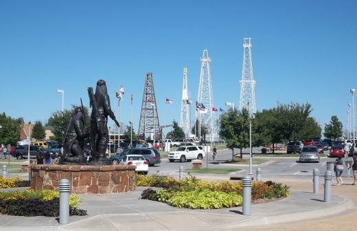 Oil wells on the north campus of Oklahoma Historical Museum.  The left brown one is an antique wooden one, no longer active.