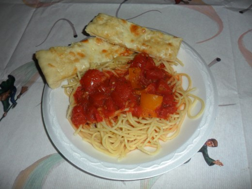 Spaghetti dinner with homemade garlic toast sticks
