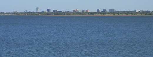 View across water resource for OKC,  Lake Hefner, along the Northwest Highway area.