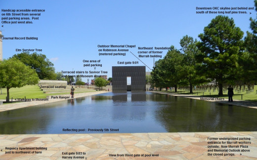 An East Gate view with descriptive identifications of the Memorial area.