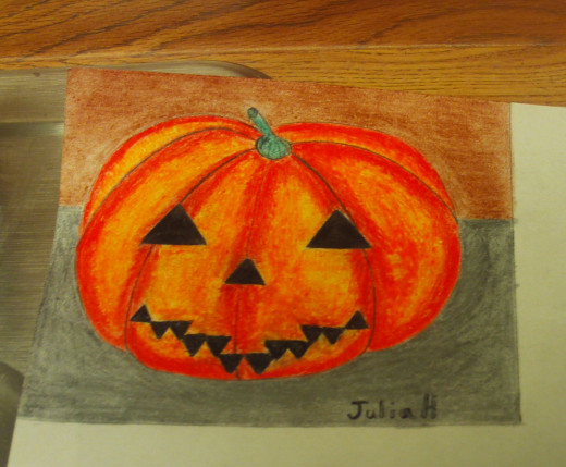 The completed drawing of the jack-o'-lantern.