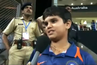 Arjun Tendulkar speaking after the world cup victory in 2011