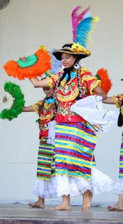 Nicaraguan women wearing the traditional Mestizaje dance costume were photographed by Omar Caldera on November 20, 2006.