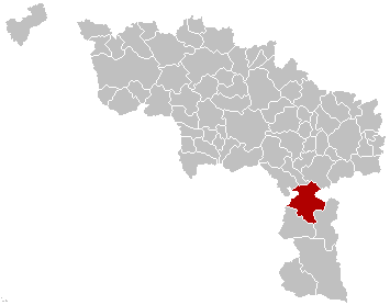 Map location of Beaumont, Hainaut province, Belgium