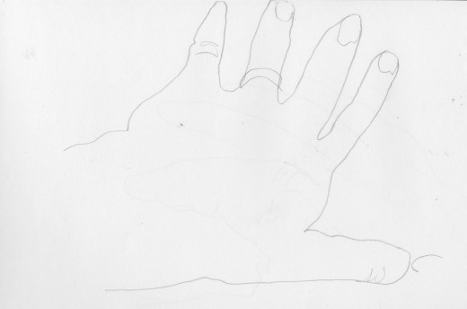 """My Left Hand"" Pencil on Paper 8 x 10"""