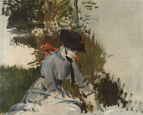 """""""Young woman in the garden of Bellevue"""" by Edouard Manet (1832-1883) Private Collection"""