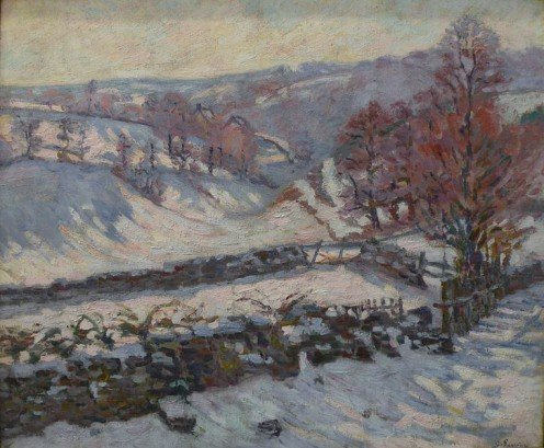 Snowy landscape at Crozant, by Armand Guillaumin (1841-1927)