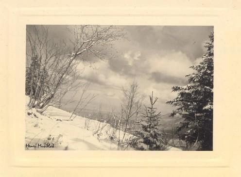 Les Voirons, snowy landscape by Henri Musielak, 1952