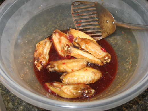 Toss the chicken in the sauce.