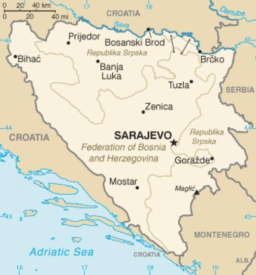 Current political map of Bosnia and Herzegovina.