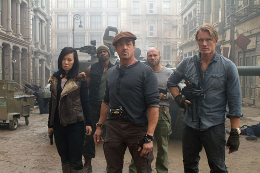 Screen shot of the cast of The Expendables 2