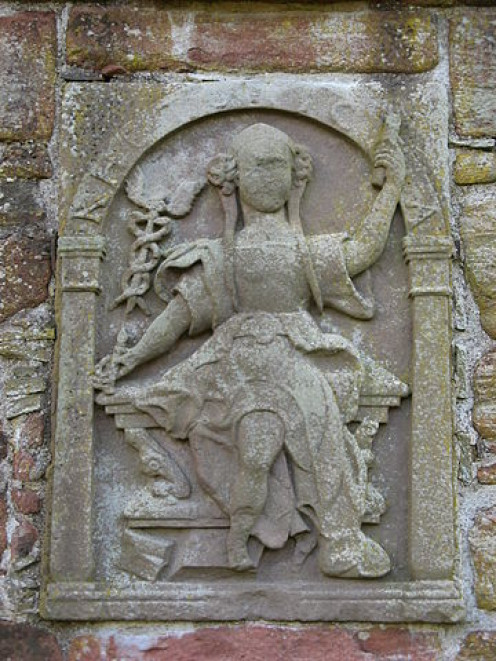 Edzell Castle, Angus, Scotland. One of the seven liberal arts carvings.
