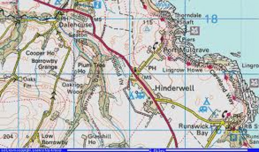 Port Mulgrave on the Ordnance Survey map, overlooking a harbour used in WWII as defence against invasion
