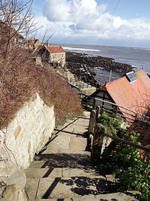 Looking down into Runswick along the footpath that descends from the clifftops toward Staithes