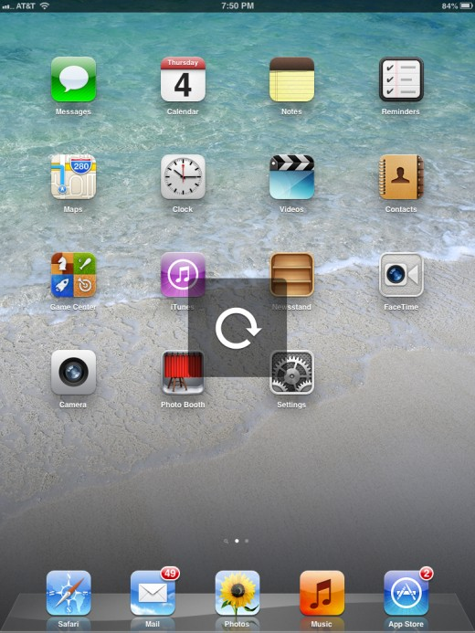 The Rotation Unlock icon appears on the screen.