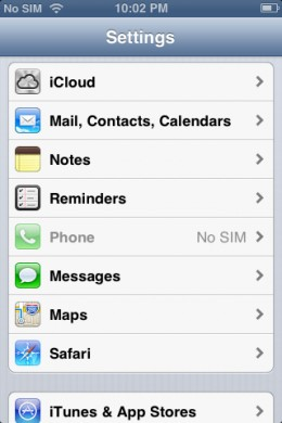 "Tap ""Settings"" and then scroll down to Phone. The message ""No SIM"" is displayed."