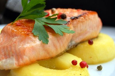 Bring home the Salmon!...and let sit on top of Caramelized Apple