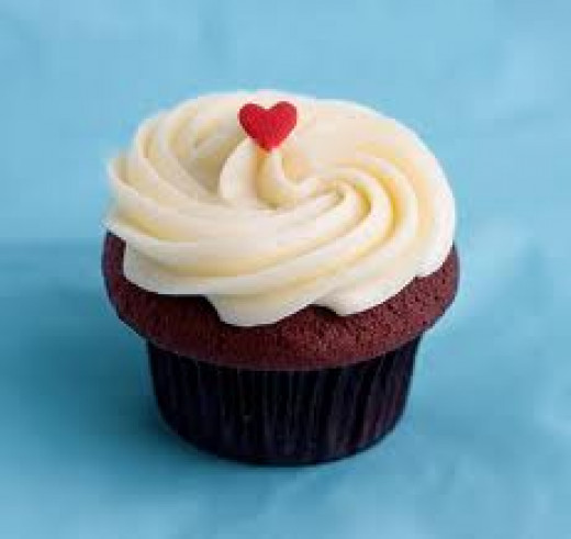 white chocolate buttercream with a red sugar heart
