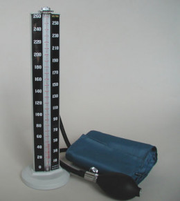 A mercury manometer for measuring blood pressure