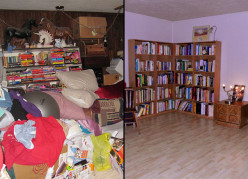 Before and after pictures of a hoarder that successfully received treatment.