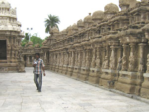 An Internal View of the Kancheepuram Kailasanathar Temple