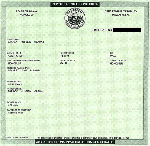 Public domain image of President Obama's birth certificate.