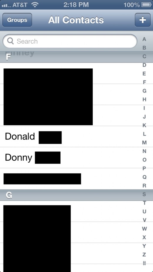 Tap one of the duplicate names in your Contacts list.