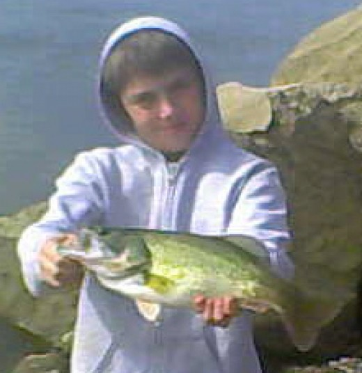 This 15-inch largemouth bass also smacked the SR7 on a cast parallel to the river bank.