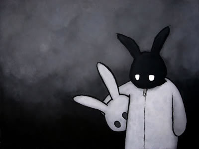 Mysterious black and white bunny