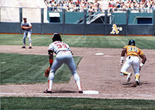 Rickey Henderson preparing to steal a base in the 1980s.