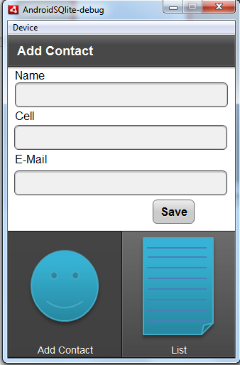 Figure 11: The Add Contacts screen in the Android running app.