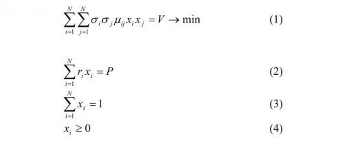 Modern Portfolio Theory in algebraic notation.