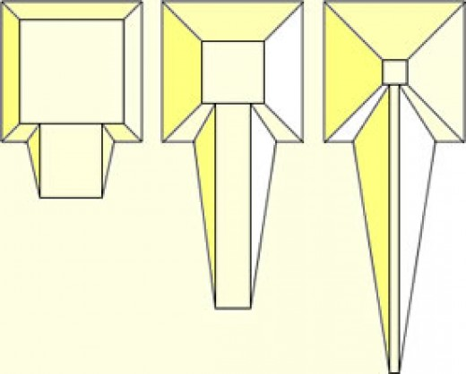 Diagram illustrating how the length of a ramp would increase as the pyramid grew. The ramp would also have to become more narrow - and therefore more dangerous to use.