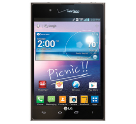 The LG Intuition smartphone features a 5-inch display and an 8-megapixel camera.