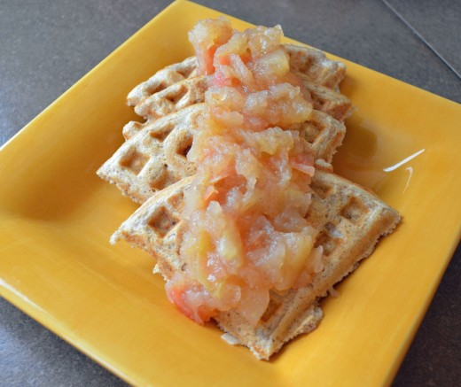 Oat whole wheat almond waffles are a great alternative to regular waffles.  Instead of maple syrup, top with homemade organic applesauce.